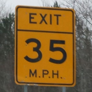 Exit speed limit signs