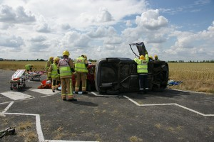 Car roll over accident
