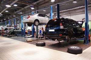 cars in dealership garage