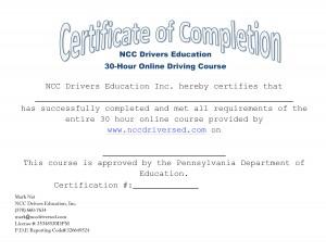 NCC Drivers Education Certification